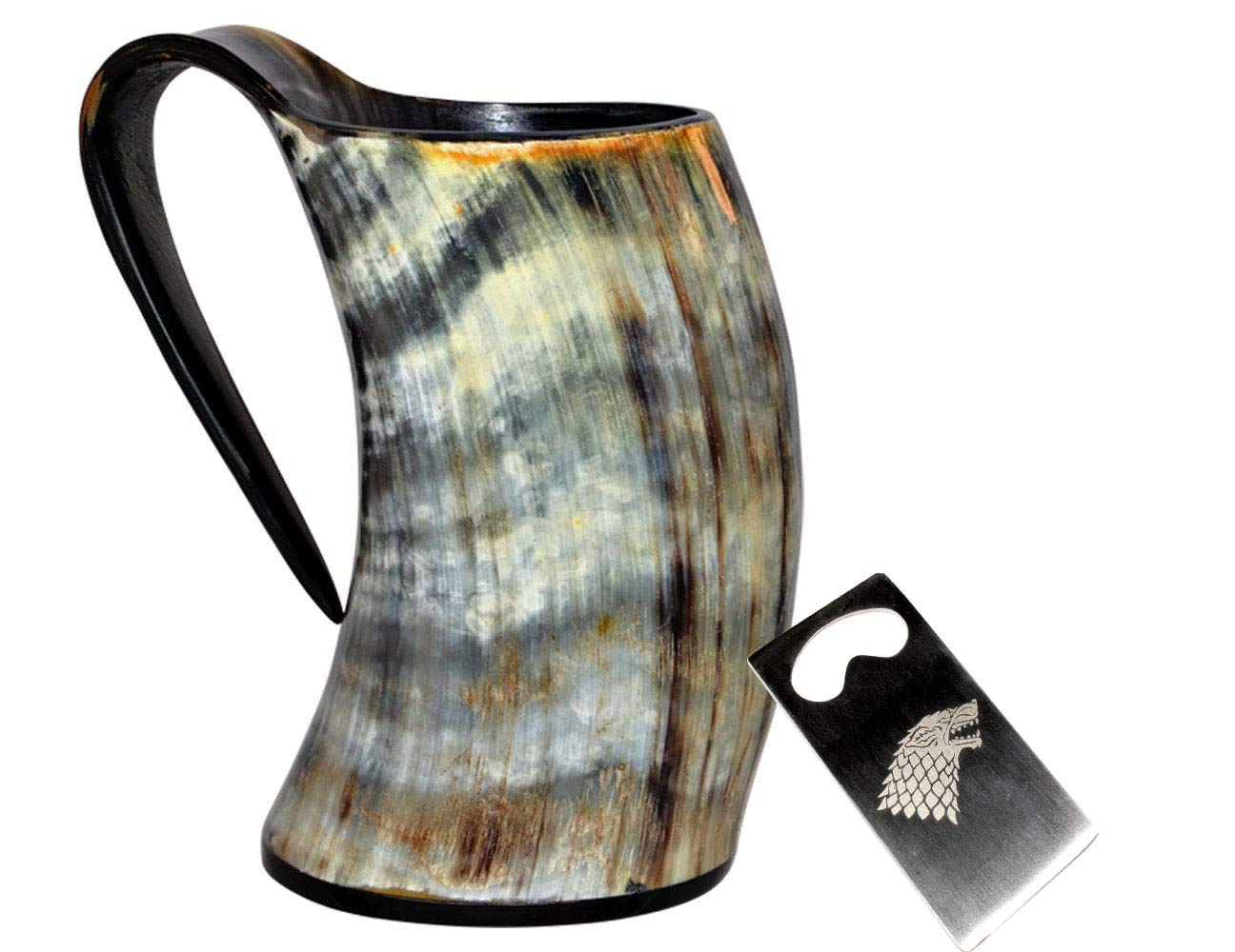 THOR HORN Viking Drinking Mug with Stand Genuine Natural 10 oz game of thrones