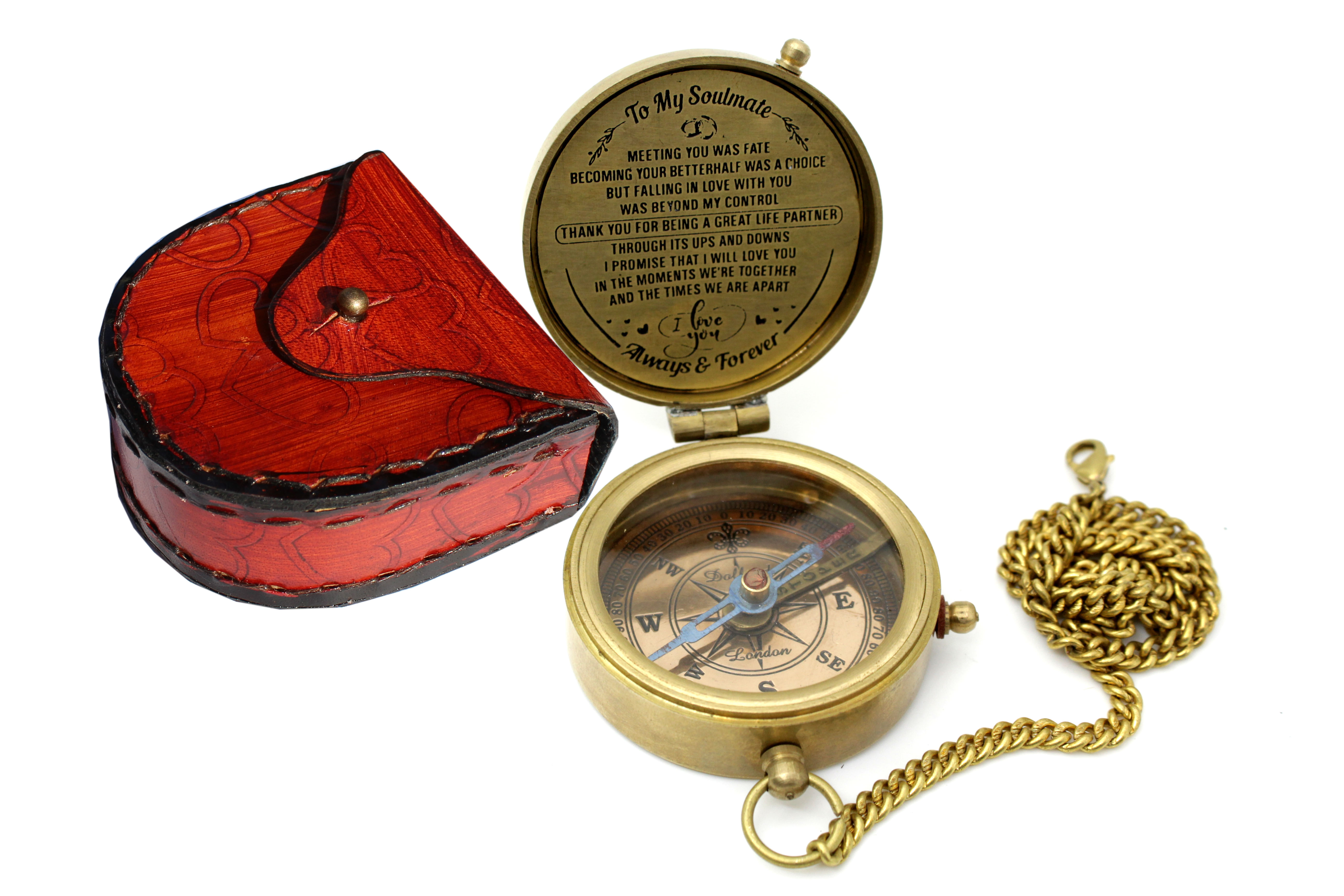 Brass Antique Compass With Chain /& Leather Case Best Gift For Birthday,