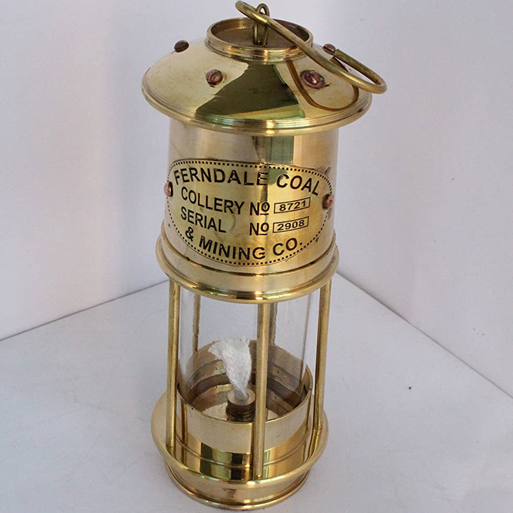 Polished Brass Vintage Nautical Minor Ship Lantern Maritime Miners Oil Lamp
